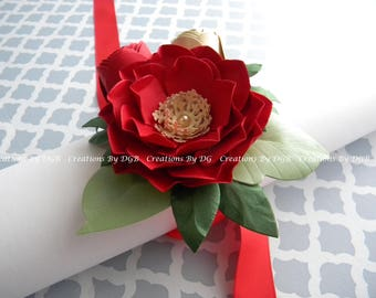 Paper Flower Corsage, Wedding Wrist Corsage, Bridesmaids Corsages, Mother's Wrist Corsage  - Any Color Made to Order