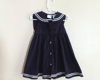80s Sailor Dress, Navy Blue, Anchors, Navy, Girls Dress, Little Goodies, Size 24M, 24 Months, Vintage Baby