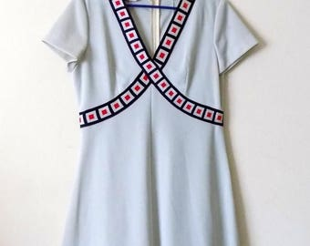 60s Americana ,Dress, 1960s, Barnsville, Park Suite Collection, Red, White, Blue, Trim, Size small, Short Dress, Womens Vintage