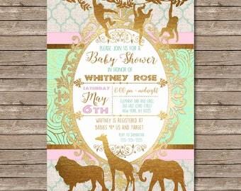Pink, Mint and Gold Safari Invitation, baby shower printable invite, baby girl digital invitation jungle animals, African Safari