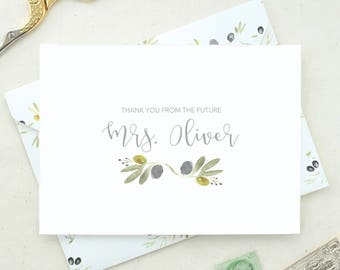 Personalized Soon To Be Mrs. Engaged Gift. Future Mrs. Card Set. Shower Thank You Cards. Thank You Notes. Blank Cards Set. Blank Thank MRS06