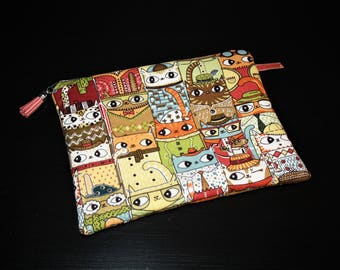 Zipped hand clutch in cotton patterned cats original!