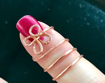 Copper wire pinky ring, adjustable wire ring, unique wire ring, flower wire ring, midfinger ring