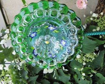 vintage glass plate flower, yard art, plate flower, repurposed glass, garden ornament, outdoor decor, irredecent, glass flowers, garden art