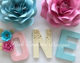Floral Letters/ Pink Gold Letters/ Boho Letters/ Boho Birthday/ Unicorn first birthday/ Floral Baby Shower/ Boho Baby Shower
