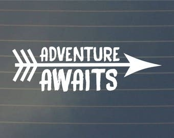 DECAL | Adventure Awaits | Car Decal | Adventure Decal | Vinyl Decal | Bottle Decal | Nature Decal | Adventure Sticker  | Nature Sticker