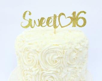 Sweet 16 Glitter Cake Topper / Sweet 16 Birthday / Sixteenth Birthday