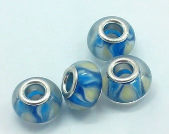Lampwork Glass Bead ivory and blue 14mm x 10mm