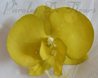Apple green Orchid hair clip
