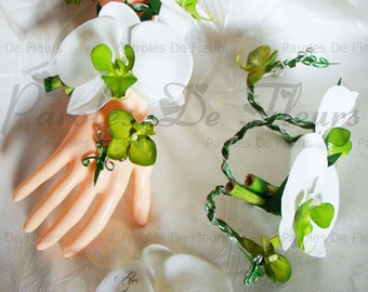 Orchid and bamboo personalize bracelet green lime/white colors to choose from