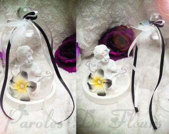 Cherub and artificial customize frangipani flowers wedding ring