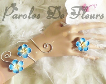 bracelet and ring turquoise plumeria flowers and wire wheels, color choice