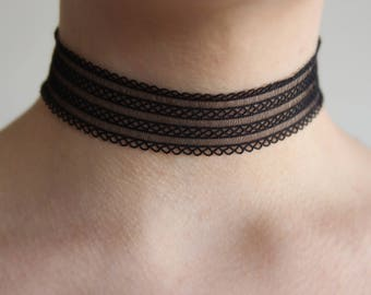 Lace choker! Black choker! Choker necklace, thick choker, sheer choker