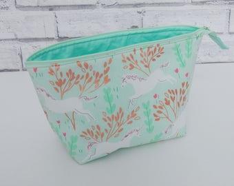 Unicorn make up bag, handmade cosmetic bag, wash bag, toiletries bag, unicorn gift for her, stocking filler, secret santa, gift for sister,