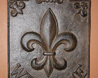 13% OFF 1, Fleur De Lis, Welcome Sign, Cast Iron, Front Door Decor, Foyer,  Entrance Door Decor, Foyer, French Style, New Orleans, F-9