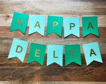 Kappa Delta Banner-  Green and Mint with Gold Foil Letters