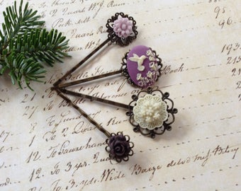 Plum And Ivory Hummingbird And Flowers Hair Clips