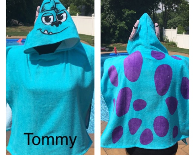 Disney/Pixar Monsters University Sulley Hooded Bath Towel Poncho Personalized