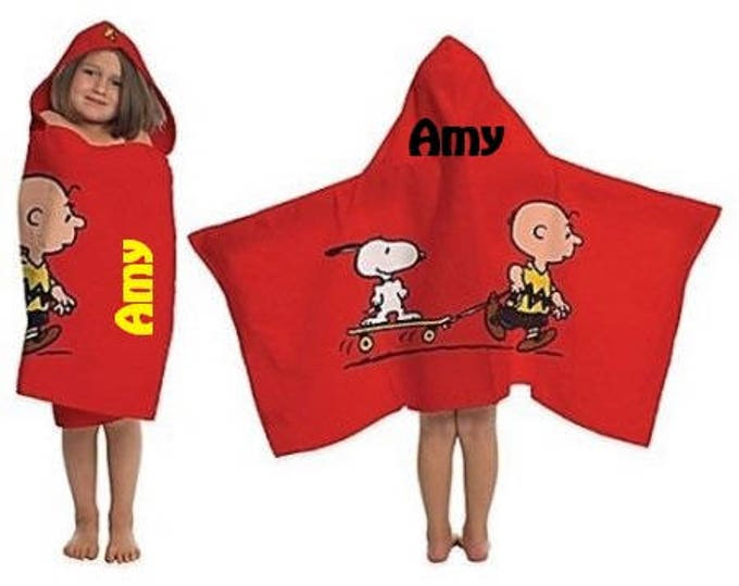 Peanuts Best Friends Charlie Brown, Snoopy and Woodstock Hooded Towel wrap - Personalized