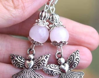 Angel rose quartz sterling silver hooks earrings