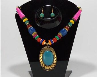 Elegantly hand crafted antique metal Oxidized finish designer Necklace