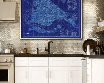 "Venice map 1910, map of Venice, Italy in 3 sizes up to 48x36"" (120x90cm) large modern Venezia map, also in blue - Limited Edition of 100"
