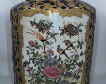 Beautiful Chinese Export Large Jar Birds Cobalt and Gold with Lid
