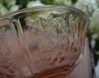 Vintage Pink Rose of Sharon Federal Glass