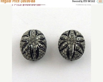 March Sale 1 Pc Pave  Diamond Antique Finish Flower oval Beads Over 925 Sterling Silver -  14mmx17mm PDC094