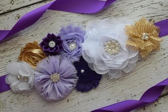 Maternity sash belt,Purple violet gold white Sash , sash,  flower Belt, maternity sash, baby shower gift