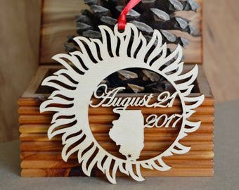 Illinois Solar Eclipse  ornament wood cut decoration. Laser cut Total Solar Eclipse ornament Path of Totality through Illinois
