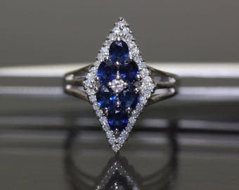 Estate 14k White Gold natural Blue Sapphire & Diamond Shape ring Band 1.74ctw
