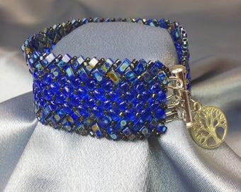 Plumbago-Herringbone Woven Beaded Bracelet