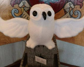 Handcrafted Plush Owl Post