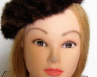 Vintage Womens Pillbox Mink Fur Hat