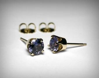Simulated Alexandrite Earrings 14K, Studs, Imitation Alexandrite Stud Earrings, 14K Yellow Gold, June Birthstone Earrings, June Birthday