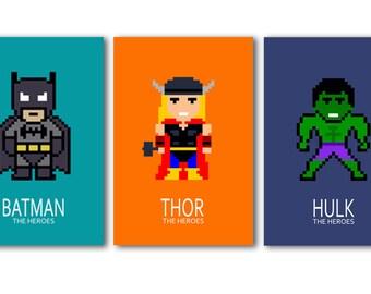 3 posters of super heroes ; Batman, Hulk, Thor,nursery decor, wall art, art print, boy room decor