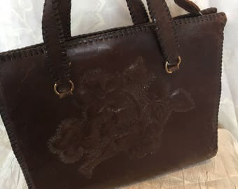 40s brown leather handbag