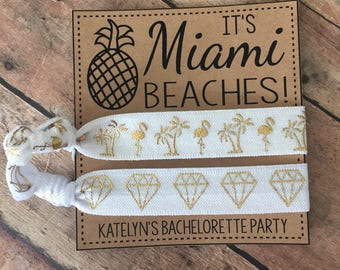 Its Miami Beaches Bachelorette FavorsMiami Personalized Card And Hair Ties FavorMiami