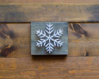 Snowflake Block - String Art - Wood Block - Snowflake Decor - Christmas Decor - Farmhouse Christmas Decor - Rustic Christmas Decor