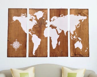 World Map Wood Wall Art world map wall art | etsy