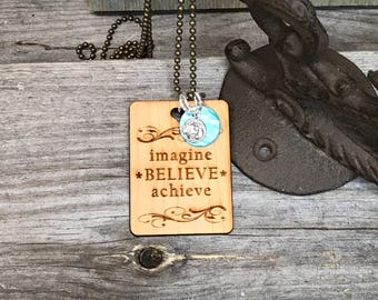 Imagine Quote Necklace, Motivational Jewelry, Handcrafted Jewelry, Laser Engraved, Customized Jewelry, Bursting Barns Designs