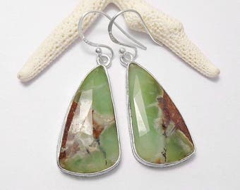 925 Sterling Silver Boulder Chrysoprase Gemstone Earrings