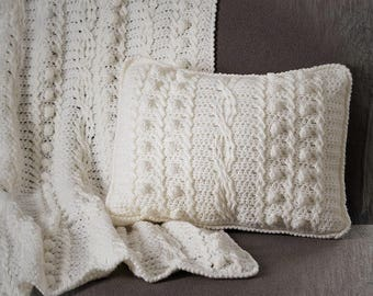 Crochet Pattern - Popcorn and Cable Twist Afghan and Pillow PDF download