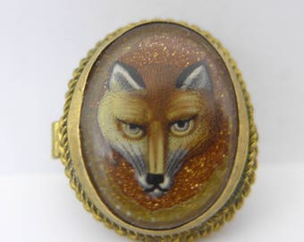 Antique Victorian Glass Hand Painted Fox Goldstone Gilt Metal Bachelor Button.
