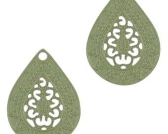 Bohemian Pendant-4 pcs.-20 x 15 mm-Drop shape-color selectable (color: Army green)