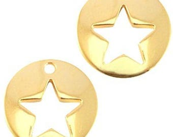 "DQ Metal Pendant ""stern""-1 piece-16 mm-Zamak-color selectable (color: Gold)"