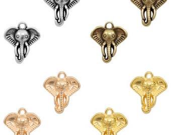 DQ Metal pendant Elephant head-1 piece-13 x 11 mm-Zamak-color selectable (color: Gold)