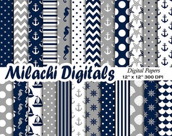 60% OFF SALE Nautical digital paper, Ahoy scrapbook papers, chevron background, wallpaper, commercial use - M549