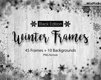Winter Frames Black Edition, Snowflake Overlays, Christmas Overlays, ClipArt,Winter Snow texture, Holiday Photo effect, wonderland, PNG,card